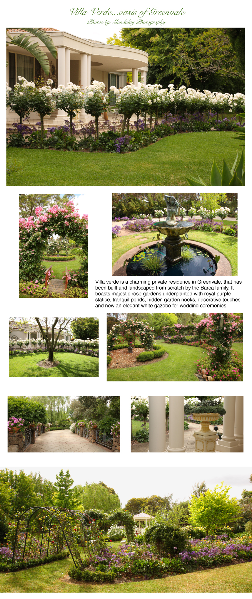 Villa Verde Gardens in Greenvale, exquisite photos by Mandalay Photography